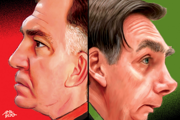Renato Casagrande olha para um lado; Bolsonaro, para o outro.. Crédito: Amarildo