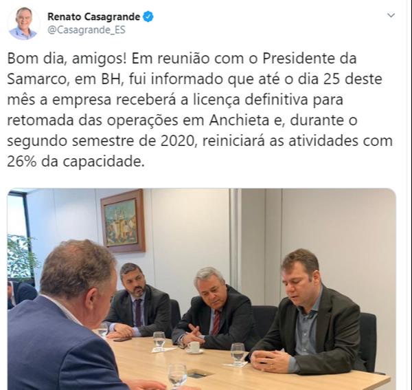 Casagrande em reunião com o presidente da Samarco. Crédito: Reprodução Twitter Renato Casagrande