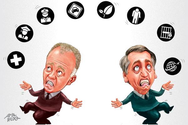Casagrande e Bolsonaro discordam sobre os mais diversos temas. Crédito: Amarildo