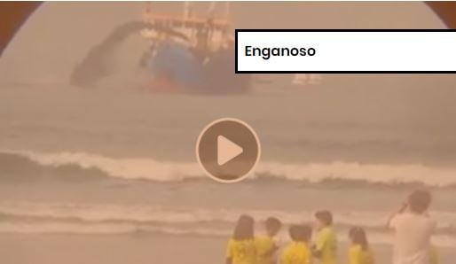 Vídeo de navio de dragagem português é enganoso ao afirmar que trata-se de derramamento de petróleo no Brasil. Crédito: Comprova