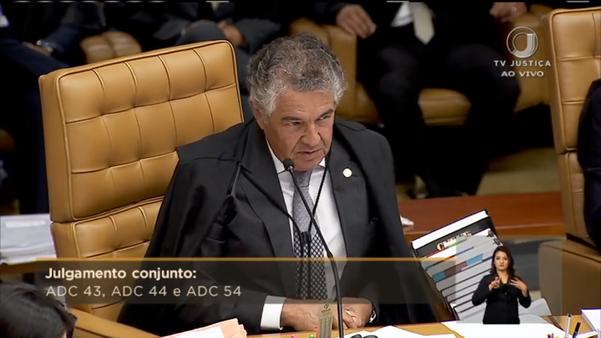O relator das ações, ministro Marco Aurélio, leu o resumo dos pedidos. Ele será o primeiro a votar na próxima sessão. Crédito: Reprodução/TV Justiça