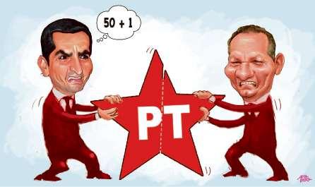 Givaldo Vieira e João Coser se digladiaram em disputa agressiva por presidência estadual do PT em 2017. Crédito: Amarildo
