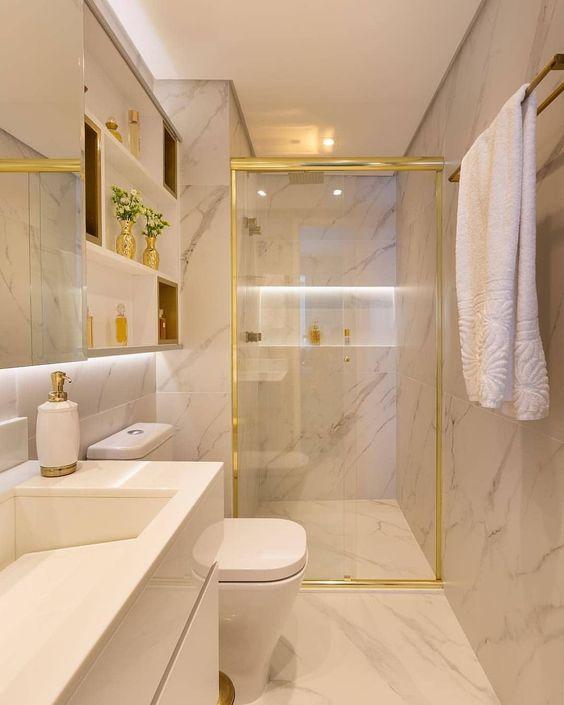 A iluminação é ideal para o banheiro. Crédito: Pinterest