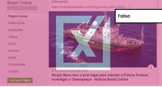 É falso post que sugere que Greenpeace é responsável por vazamentos. Crédito: Comprova