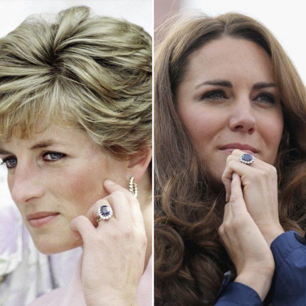 O modelo, com a pedra azulada no centro e diamantes no contorno, fazem par com o anel de casamento usado pela Duquesa. Crédito: Reprodução/ Instagram