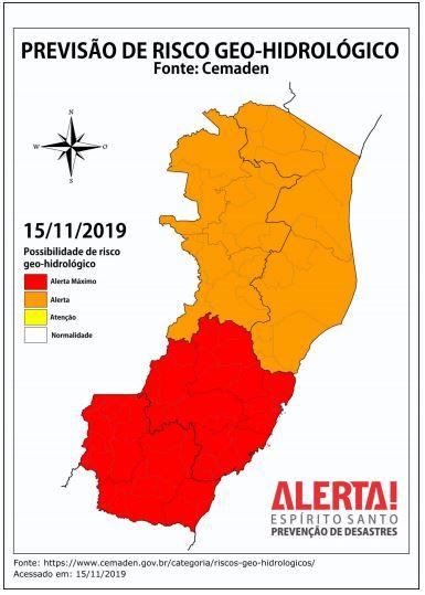 Áreas de alerta para deslizamentos de terra. Crédito: Divulgação Defesa Civil