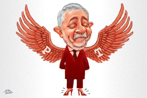 Lula lá, Lula cá, Lula acolá: estratégia do PT com Lula livre é centrada no seu grande líder e impede o partido de fazer uma autocrítica. Crédito: Amarildo