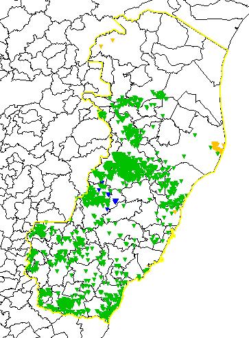 Mapa mostra a incidência de raios sobre o Estado entre meia-noite de domingo (01) e 11 horas desta segunda-feira (02). Crédito: Reprodução/Elat