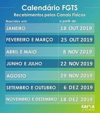Calendário de recebimento do saque imediato do FGTS. Crédito: Divulgação / Caixa