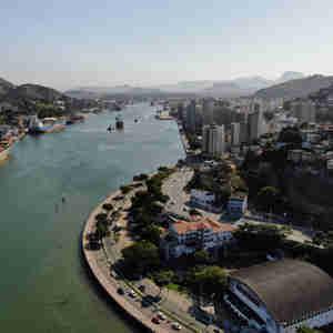 Data: 04/09/2019 - ES - Vitória - Baía de Vitória - Fotos aéreas para o aniversário de Vitória - Editoria: Cidades - Foto: Felipe Mota - Fly Now - GZ