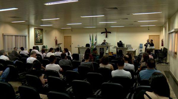 Júri no Fórum de Linhares. Crédito: Reprodução/TV Gazeta