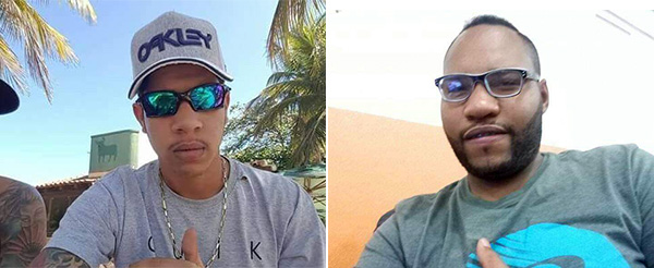 À esquerda, Breno Rosa Guimarães, 21 anos. À direita, Elias Barbosa Neto, 27 anos. Os dois morreram após serem atingidos por tiros na Ilha do Príncipe, em Vitória. Crédito: Redes Sociais