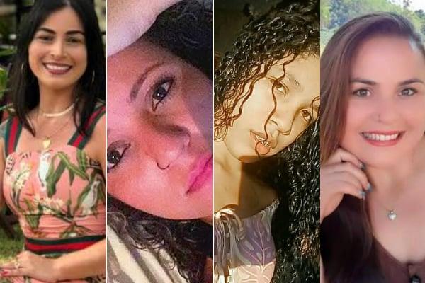 Jane Cherubim, Maikelly Rodrigues, Karolini Vitória e Thamires Lourençoni foram vítimas de crimes marcantes no ES em 2019. Crédito: Montagem | A Gazeta