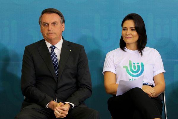 Jair Bolsonaro e sua mulher Michelle Bolsonaro. Crédito: Wilson Dias/Agência Brasil