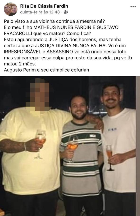 Post no Facebook feito pela mãe de Matheus Nunes Fardin. Crédito: Reprodução | Redes Sociais