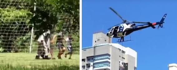 Pai e filho foram resgatados com o apoio do helicóptero do Notaer. Crédito: Diony Silva | TV Gazeta