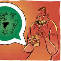 Ilustração - Amigos e parentes em pé de guerra pelo WhatsApp