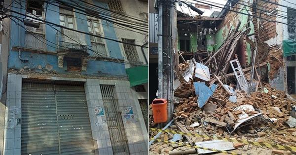 Fachada de imóvel antes de desabar no Centro de Vitória, e os escombros após a queda. Crédito: Google Maps / Caíque Verli