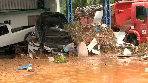Chuva deixa mortos e  município de Iconha fica destruído . Crédito: Reprodução / TV Gazeta