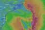 Imagens de satélite mostram a formação do ciclone próximo a costa do ES nesta quinta-feira (23). Crédito: Reprodução/Windy.com