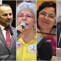 Helder Salomão, Célia Tavares, Lúcia Dornellas e André Lopes: disputa no PT de Cariacica será intensa pela candidatura à prefeitura
