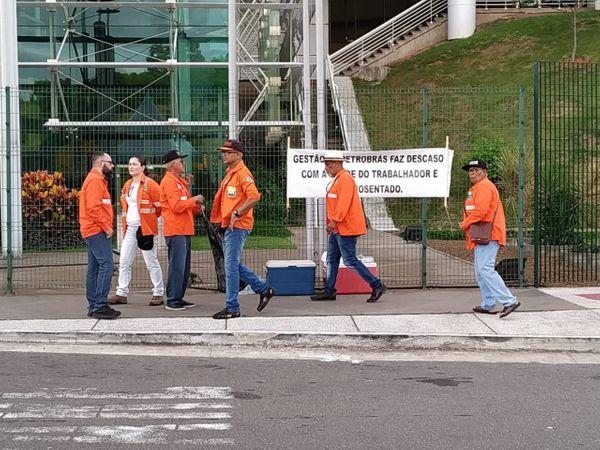 Protesto de petroleiros em Vitória, na semana passada. Crédito: Giordany Bozzato