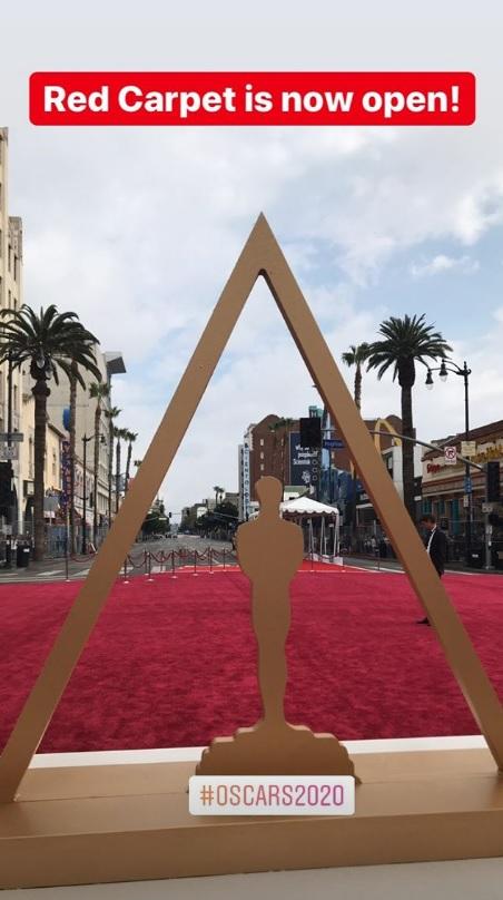 Oscar 2020: vista do tapete vermelho. Crédito: Reprodução/Instagram @dolbytheatre