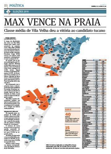 O mapa da votação em Vila velha em 2016: azul para Max, laranja para Neucimar. Crédito: A Gazeta (31/10/2016)