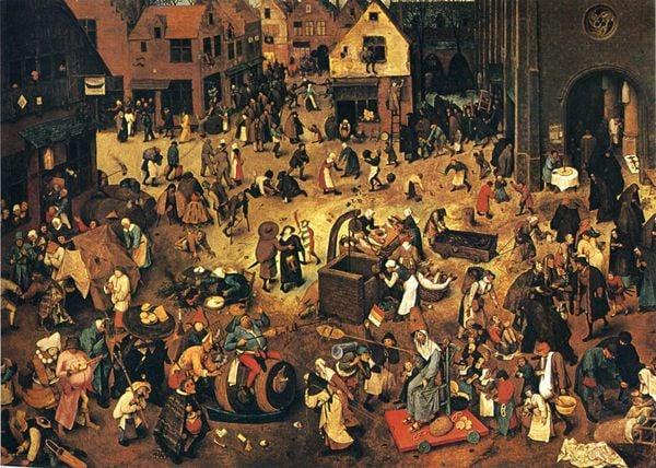 O conflito entre a Quaresma e o Carnaval foi retratado em um famoso quadro de Pieter Bruegel
