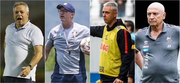 Abel Braga (Vasco), Odair Hellmann (Fluminense), Tiago Nunes (Corinthians) e Jesualdo Ferreira (Santos) estão ameaçados em seus cargos. Crédito: Divulgação