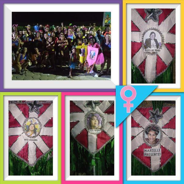 Durante o desfile, as integrantes homenagearam mulheres como Marielle Franco, Elza Soares e Maria da Penha. Crédito: Coletivo Belas / Divulgação