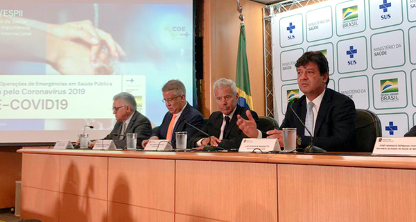 Ministro da Saúde em coletiva de imprensa. Crédito: Ministério da Saúde