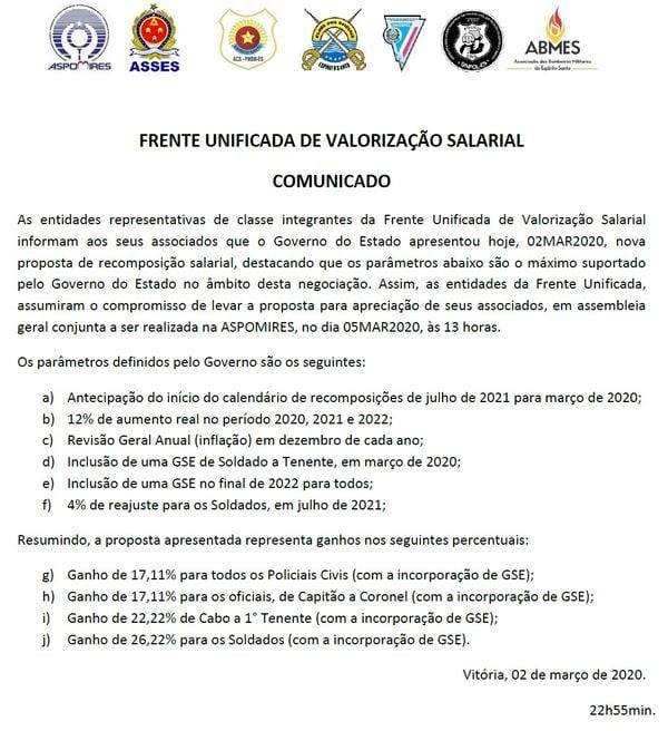 Nota da Frente Unificada sobre reajuste salarial proposto pelo governo.. Crédito: Reprodução