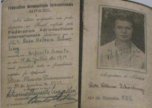 Brevê para piloto tirado por Rosa em junho de 1939. Crédito: Reprodução/TV Gazeta