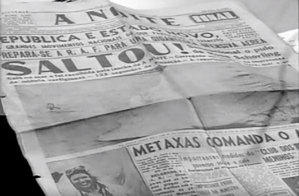 Jornais do país noticiaram o salto histórico de Rosita, que se tornou a primeira mulher a saltar de paraquedas no Brasil. Crédito: Reprodução/TV Globo