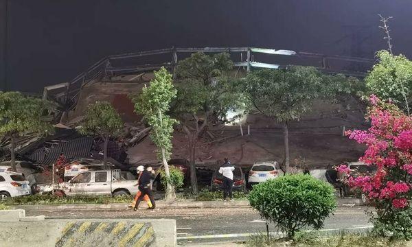 Escombros do hotel Xinjia, na na cidade chinesa de Quanzhou: local servia de quarentena para Coronavírus. Crédito: Reprodução | Twitter
