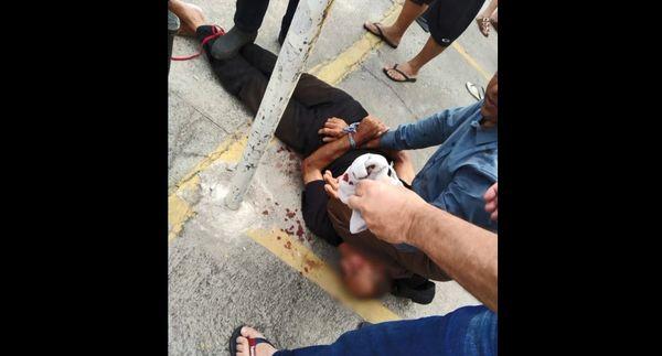 Homem foi amarrado até a chegada da polícia . Crédito: Reprodução/TV Gazeta