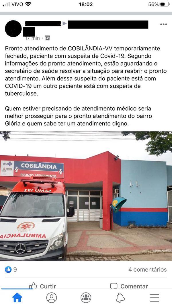 Prefeitura desmente publicação de que PA de Cobilândia havia sido fechado por suspeita de coronavirus. Crédito: Reprodução