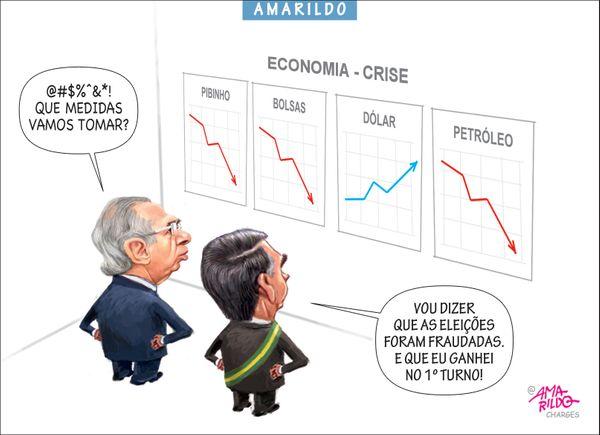 Confira a charge do Amarildo de 13/03/2020. Crédito: Amarildo