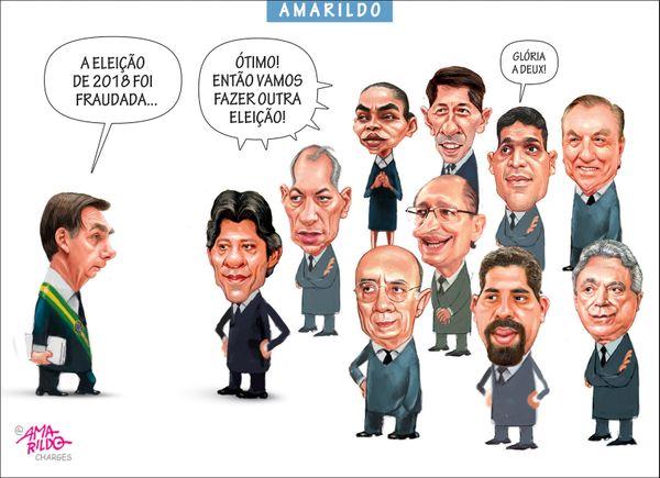Confira a charge do Amarildo de 14/03/2020. Crédito: Amarildo