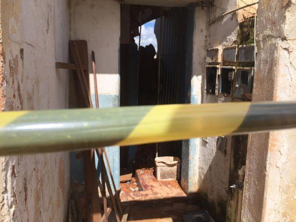 Prédio de três andares cai em Cachoeiro. Crédito: Rafael Ferraz/TV Gazeta Sul