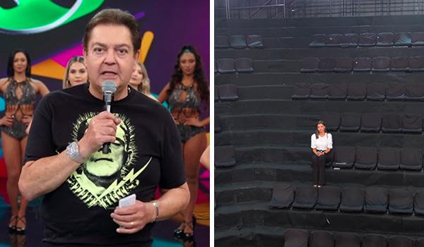 Domingão do Faustão sem plateia e com novas bailarinas neste domingo (15). Crédito: Reprodução | TV Globo