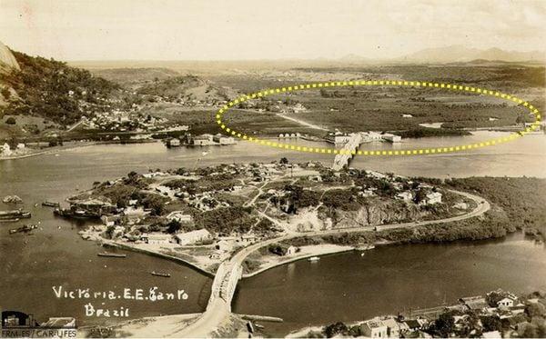 No destaque, a região do Rio Marinho, em Vila Velha, na década de 30: com quase oito quilômetros de extensão, percorre o território capixaba da confluência entre os rios Formate e Jucu até a foz na Baía de Vitória