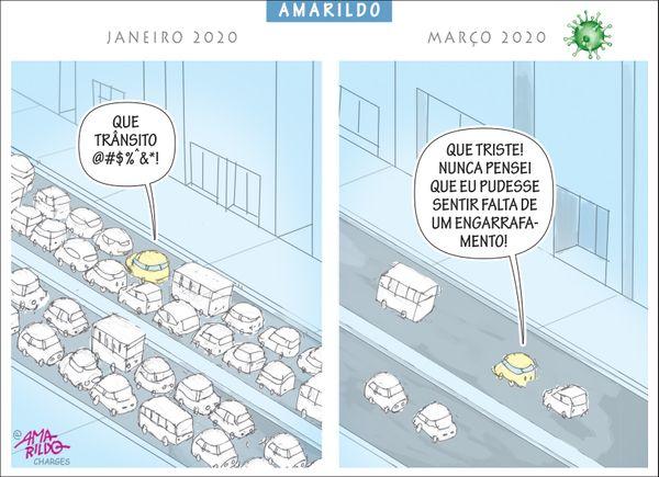 Confira a charge do Amarildo de 21/03/2020. Crédito: Amarildo