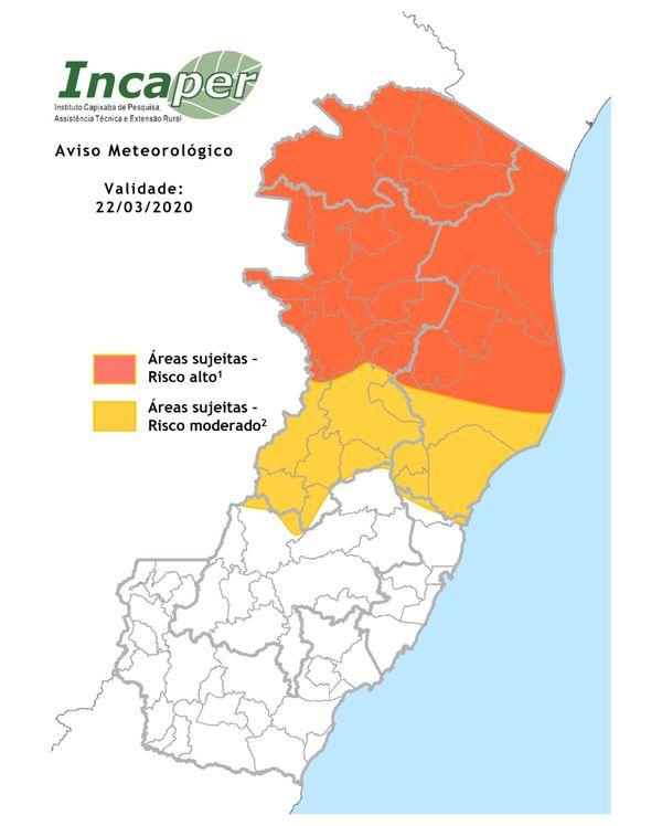 Mapa mostra áreas de risco para chuvas fortes no ES neste domingo (22). Crédito: Reprodução   Incaper