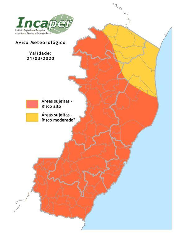 Mapa mostra áreas de risco para chuvas fortes no ES neste sábado (21). Crédito: Reprodução   Incaper