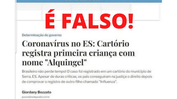 Montagem diz que criança foi registrada com nome de Alquingel no ES
