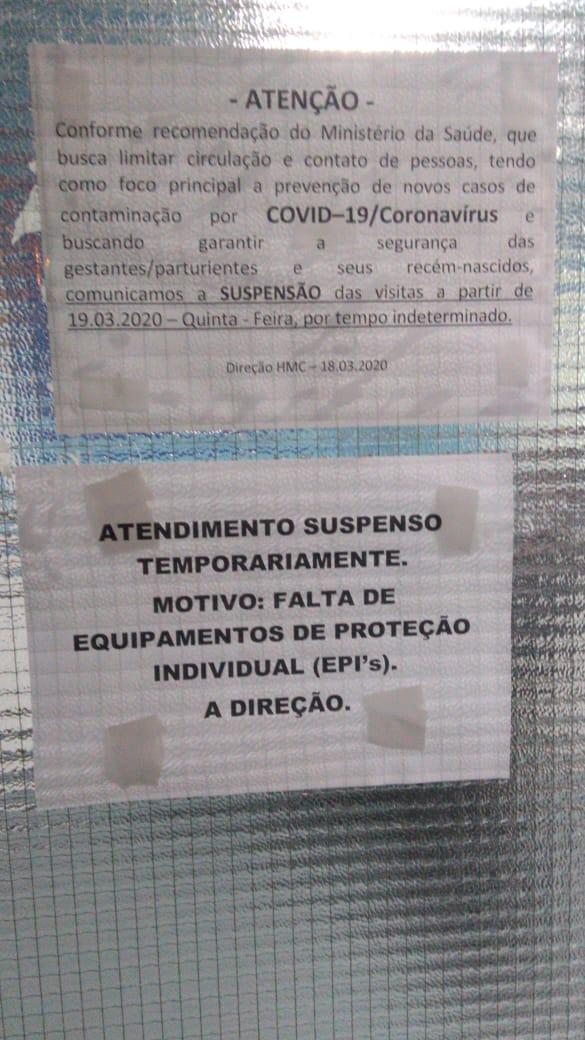 Cartaz alerta a suspensão temporária do atendimento do Hospital de Cobilândia, em Vila Velha