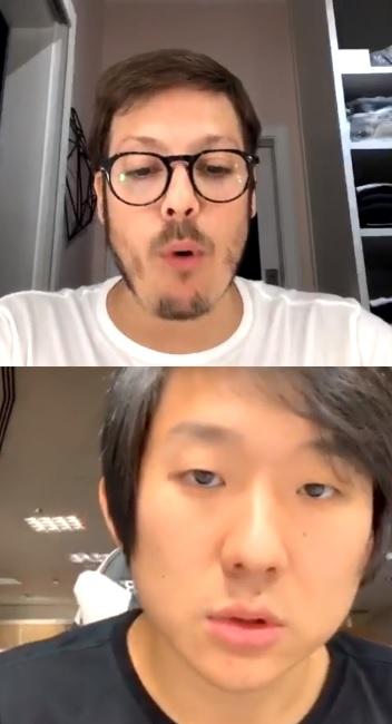 Fábio Porchat e Pyong em live no Instagram
