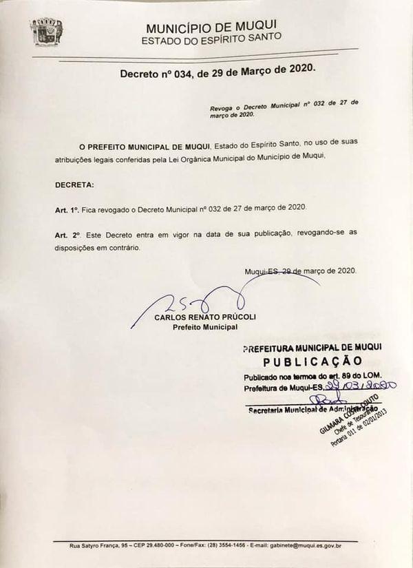 Prefeito de Muqui autoriza abertura do comércio, mas volta atrás depois de notificação do MP